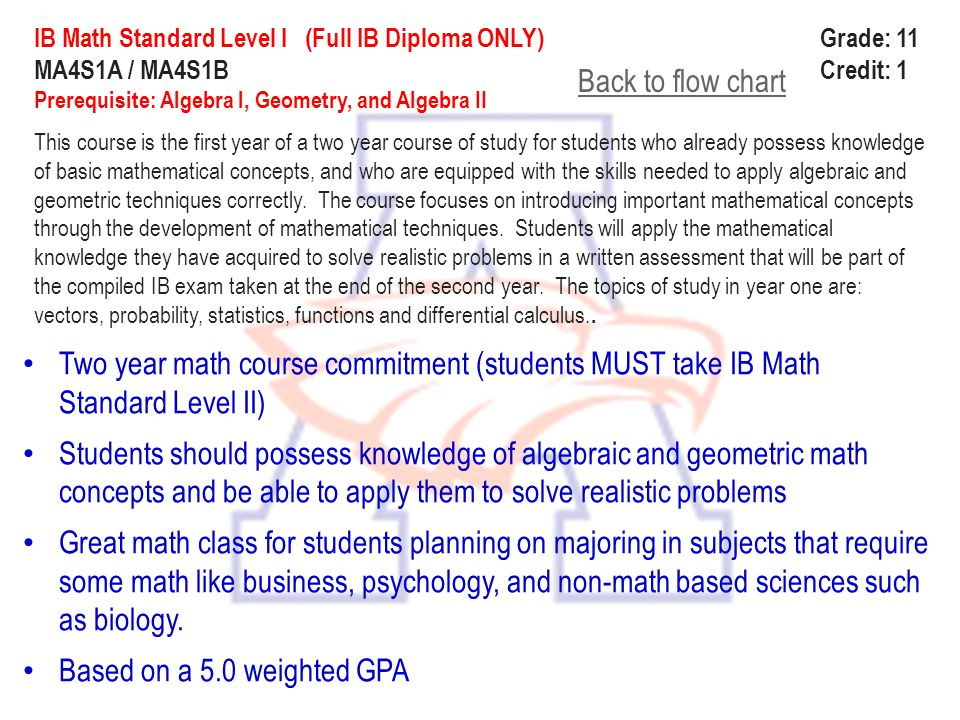 ib standard level math To earn an ib diploma, a candidate must take one of the following four mathematics courses: mathematical studies sl (standard level), mathematics sl, mathematics hl (higher level) or further mathematics hl.