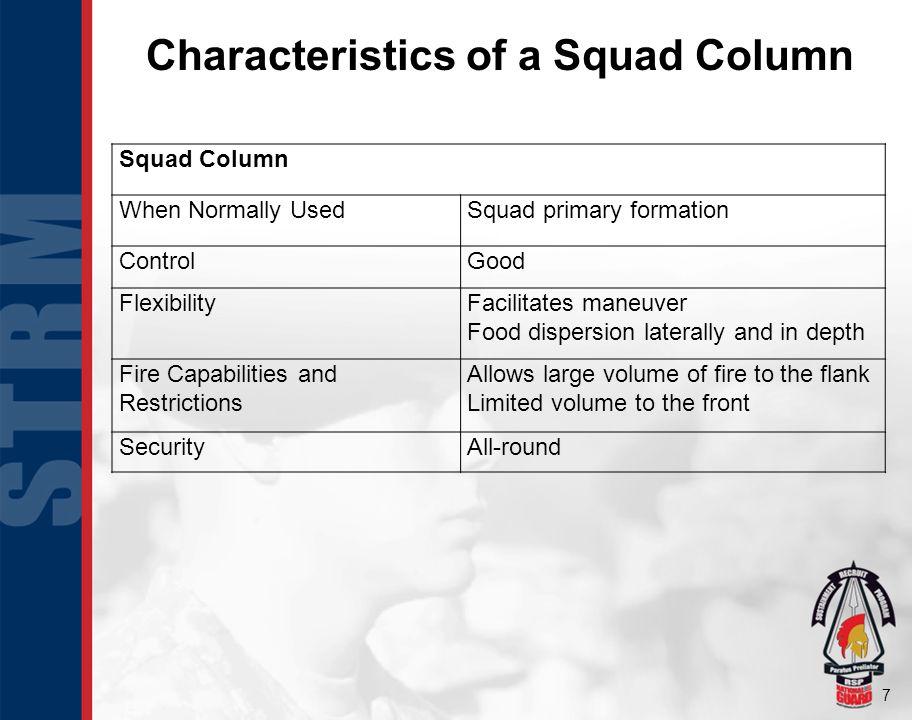 Characteristics of a Squad Column