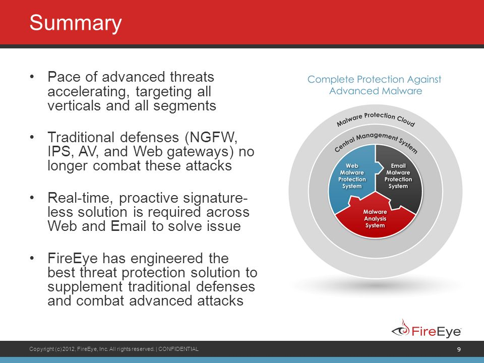 Summary Pace of advanced threats accelerating, targeting all verticals and all segments.