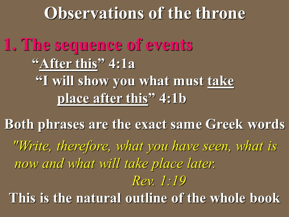Observations of the throne Both phrases are the exact same Greek words