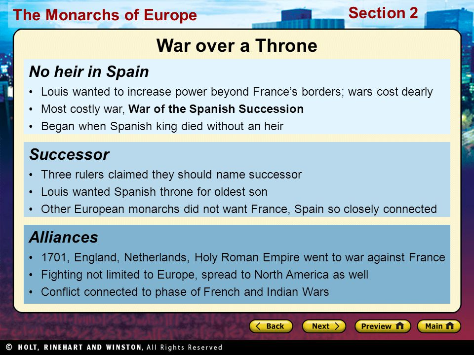 War over a Throne No heir in Spain Successor Alliances