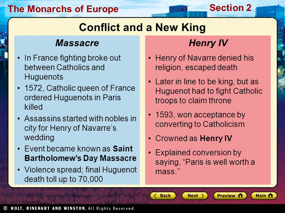 Conflict and a New King Massacre Henry IV