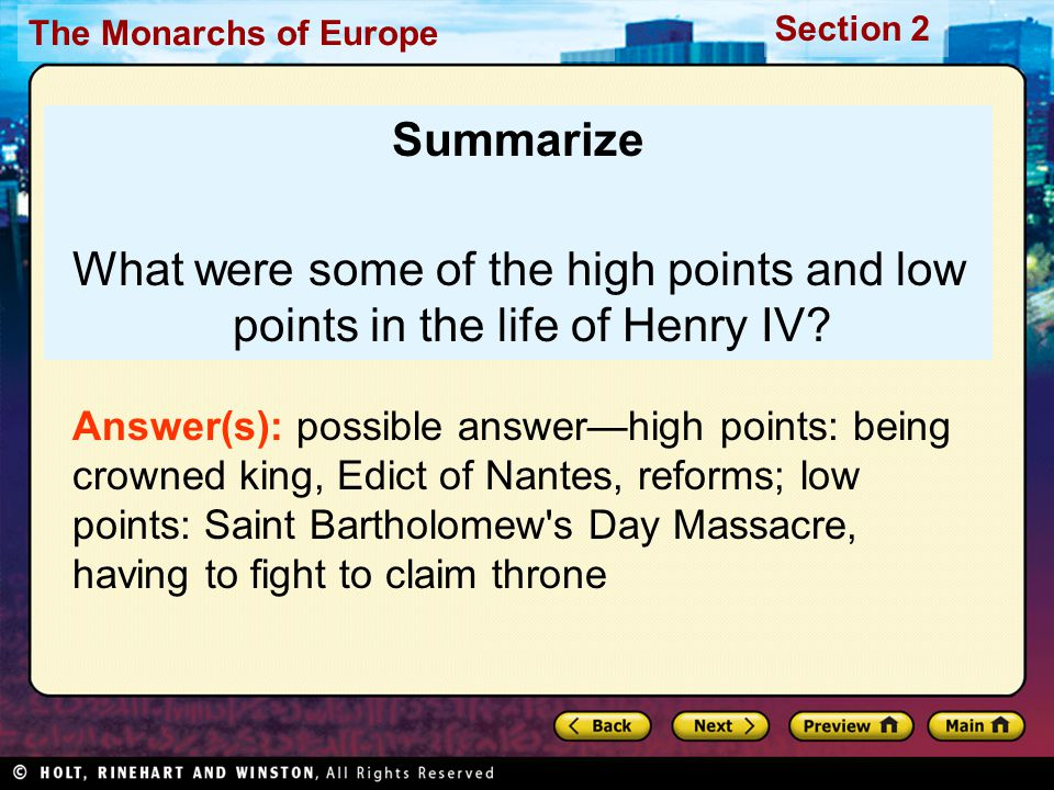 Summarize What were some of the high points and low points in the life of Henry IV