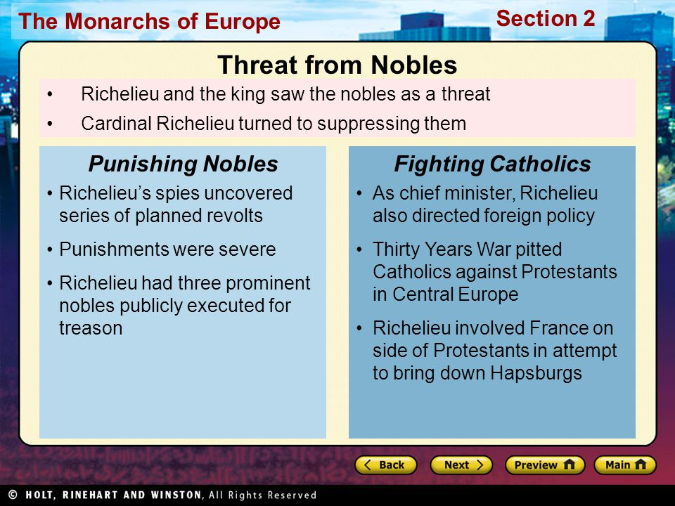 Threat from Nobles Punishing Nobles Fighting Catholics