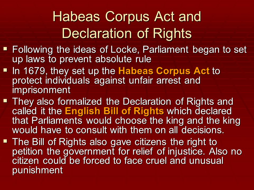 Habeas Corpus Act and Declaration of Rights
