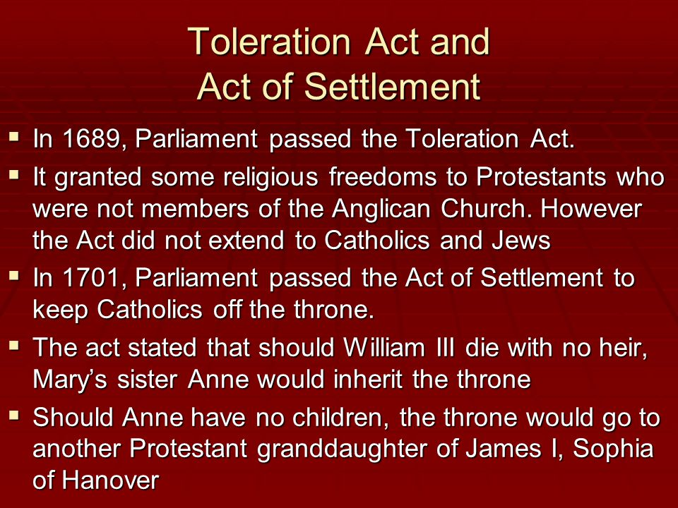 Toleration Act and Act of Settlement