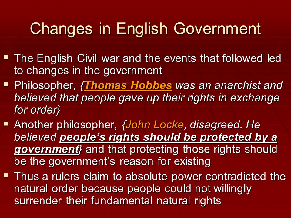 Changes in English Government