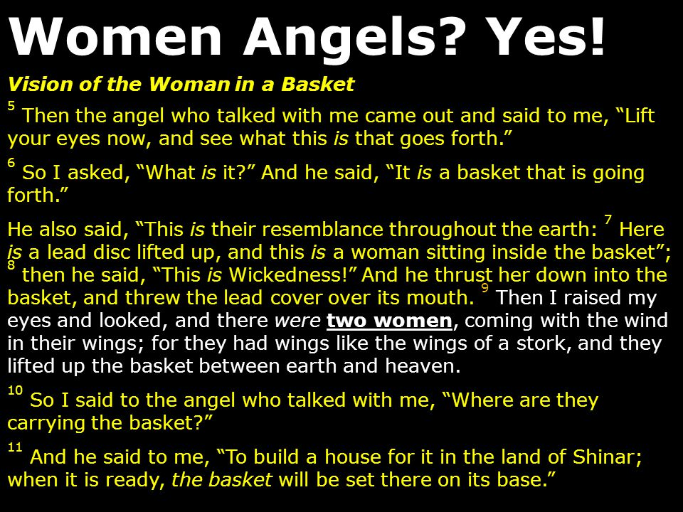 Women Angels Yes! Vision of the Woman in a Basket