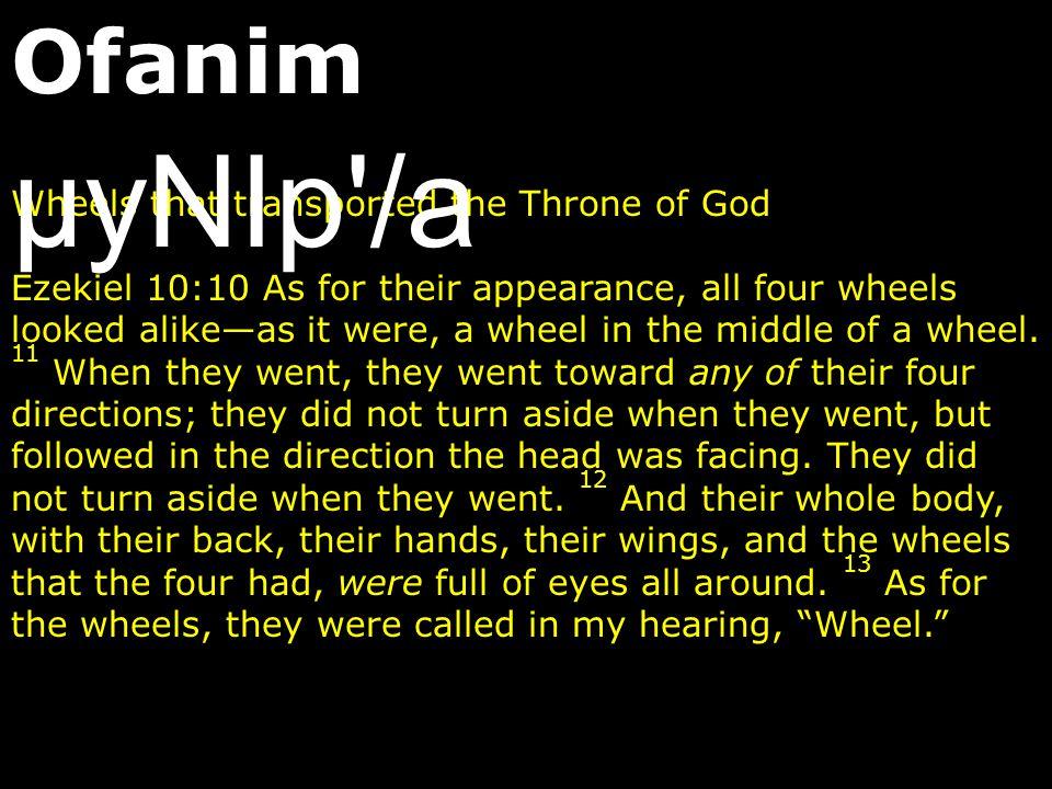 Ofanim µyNIp /a Wheels that transported the Throne of God