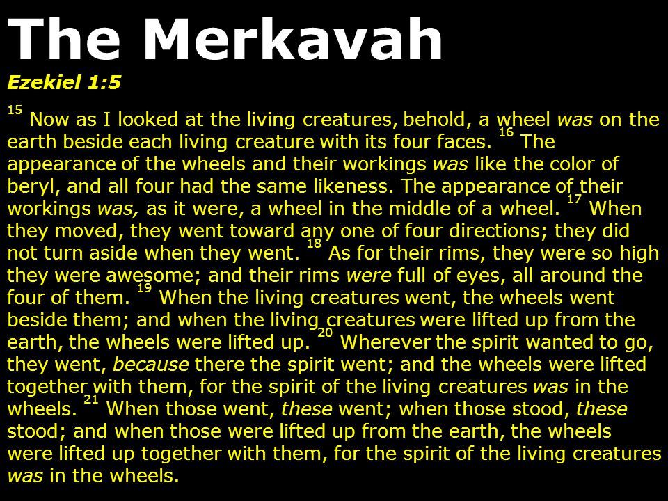 The Merkavah Ezekiel 1:5.