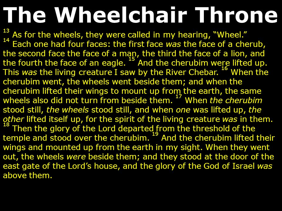 The Wheelchair Throne 13 As for the wheels, they were called in my hearing, Wheel.