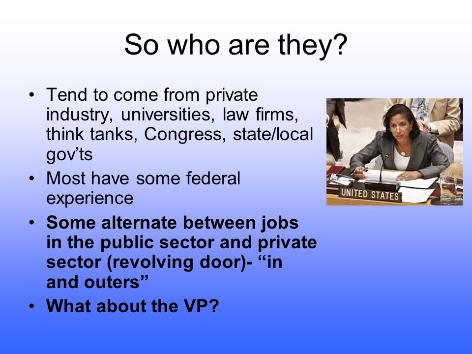 So who are they Tend to come from private industry, universities, law firms, think tanks, Congress, state/local gov'ts.