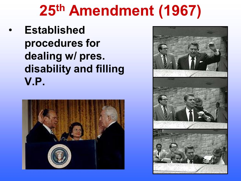 25th Amendment (1967) Established procedures for dealing w/ pres. disability and filling V.P.