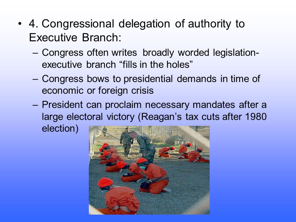 4. Congressional delegation of authority to Executive Branch: