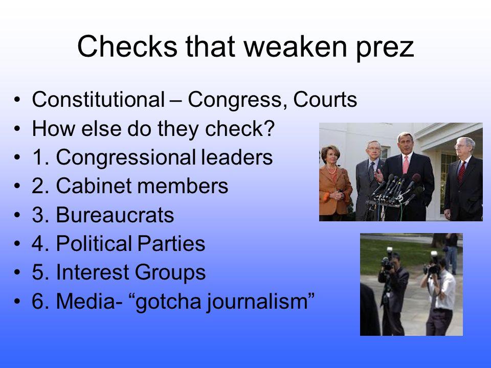 Checks that weaken prez