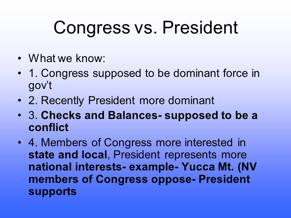 Congress vs. President What we know: