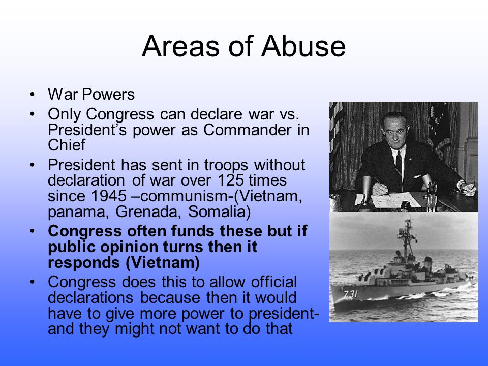 Areas of Abuse War Powers