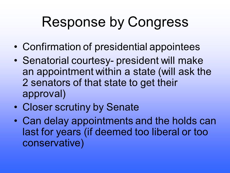 Response by Congress Confirmation of presidential appointees