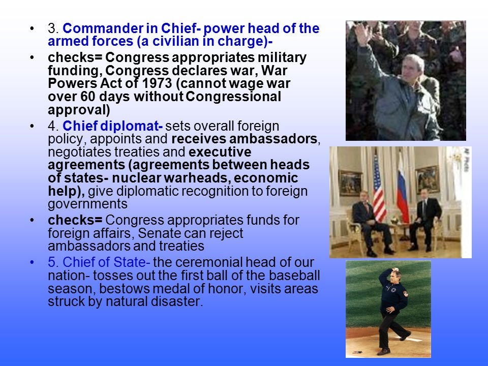 3. Commander in Chief- power head of the armed forces (a civilian in charge)-