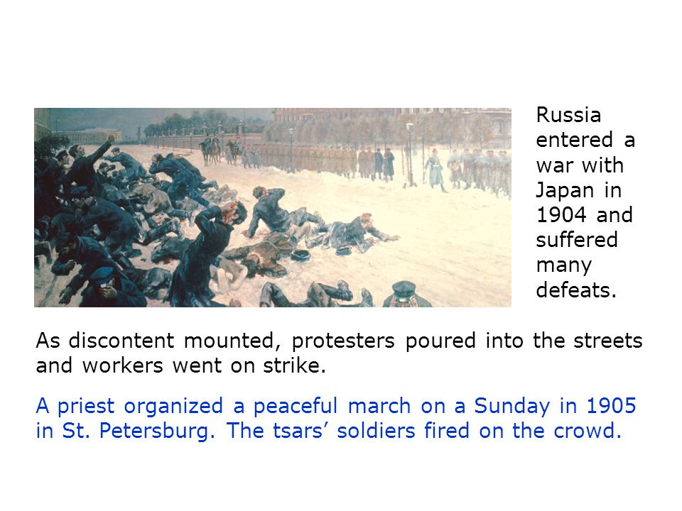 Russia entered a war with Japan in 1904 and suffered many defeats.