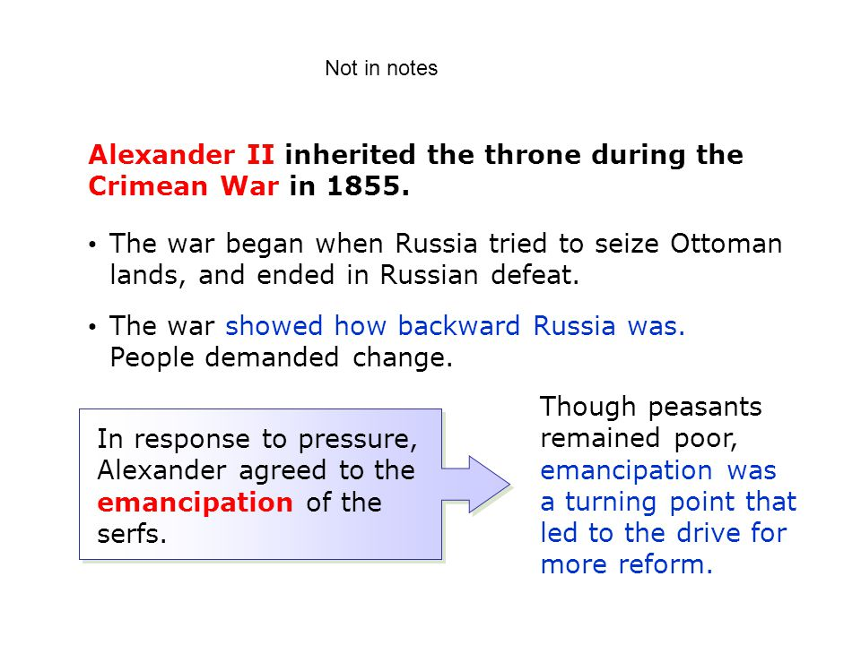 Alexander II inherited the throne during the Crimean War in 1855.