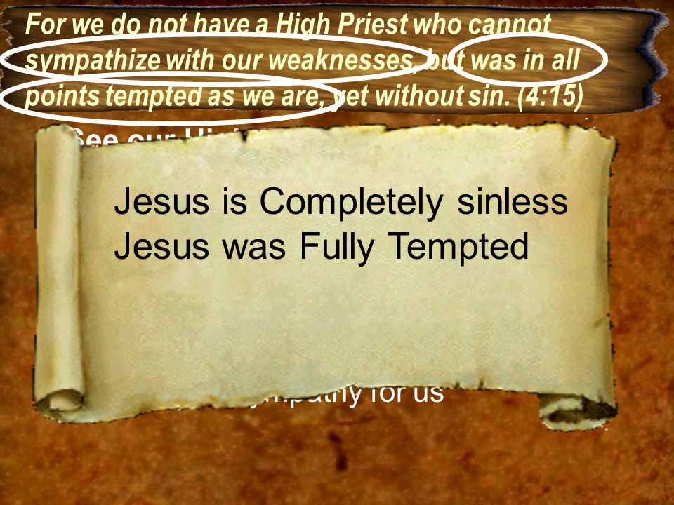 Jesus is Completely sinless Jesus was Fully Tempted
