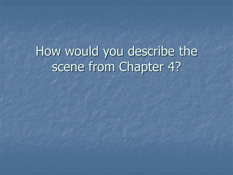 How would you describe the scene from Chapter 4