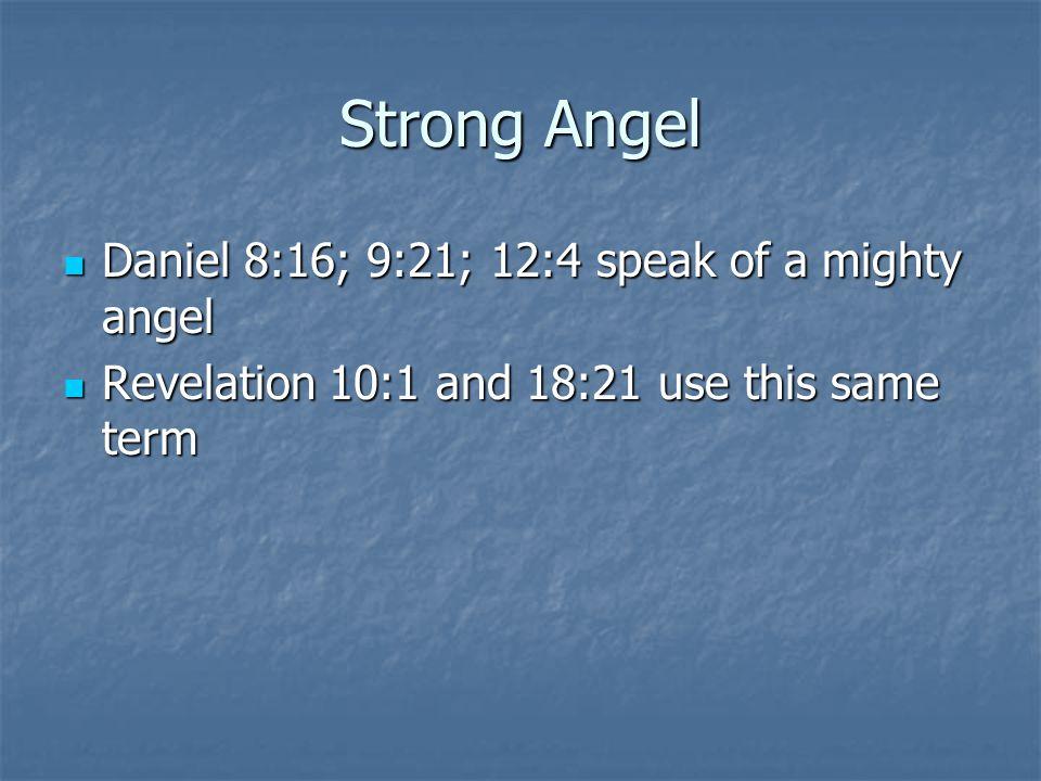Strong Angel Daniel 8:16; 9:21; 12:4 speak of a mighty angel