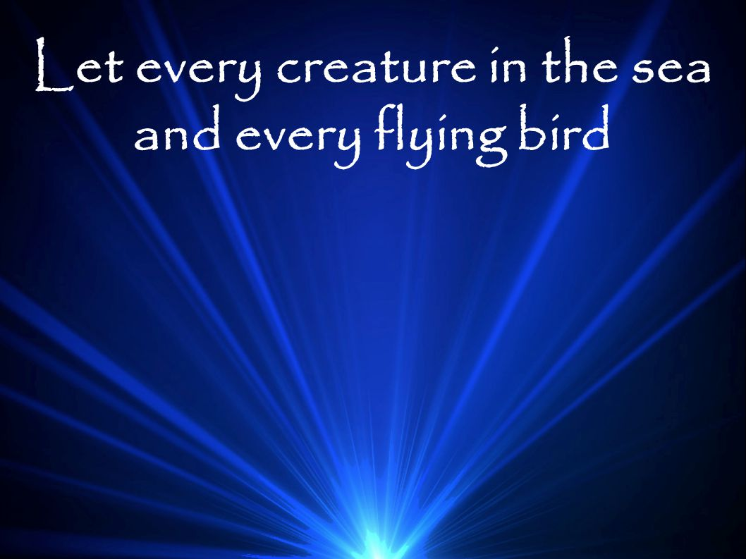 Let every creature in the sea and every flying bird