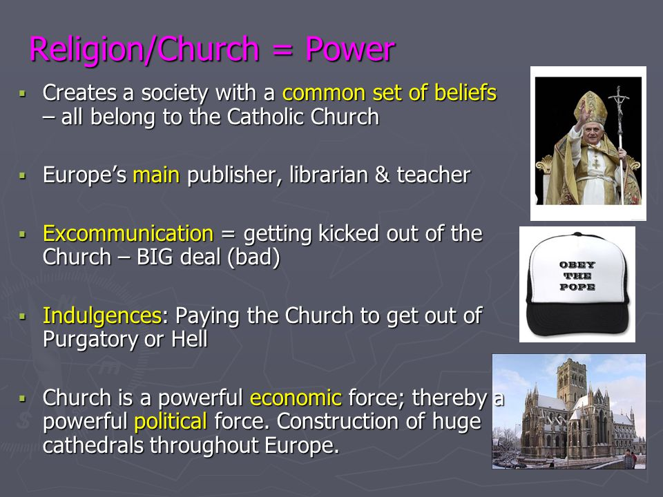 Religion/Church = Power