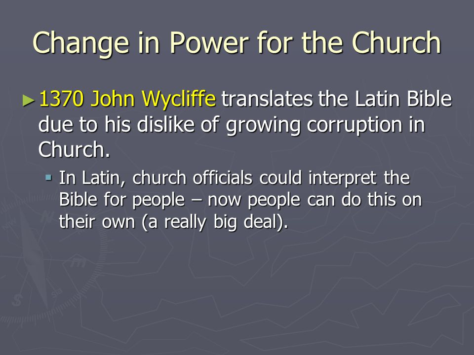 Change in Power for the Church