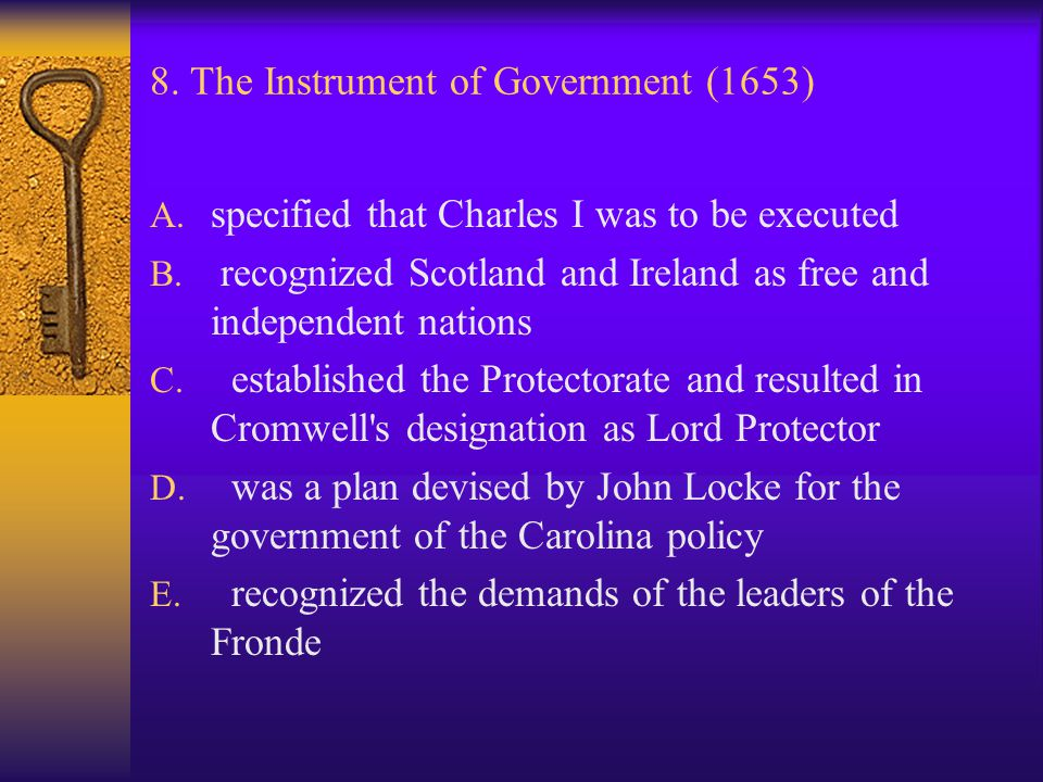 8. The Instrument of Government (1653)
