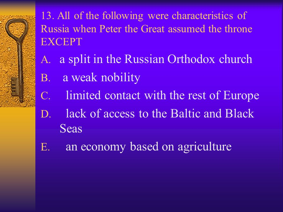 a split in the Russian Orthodox church a weak nobility