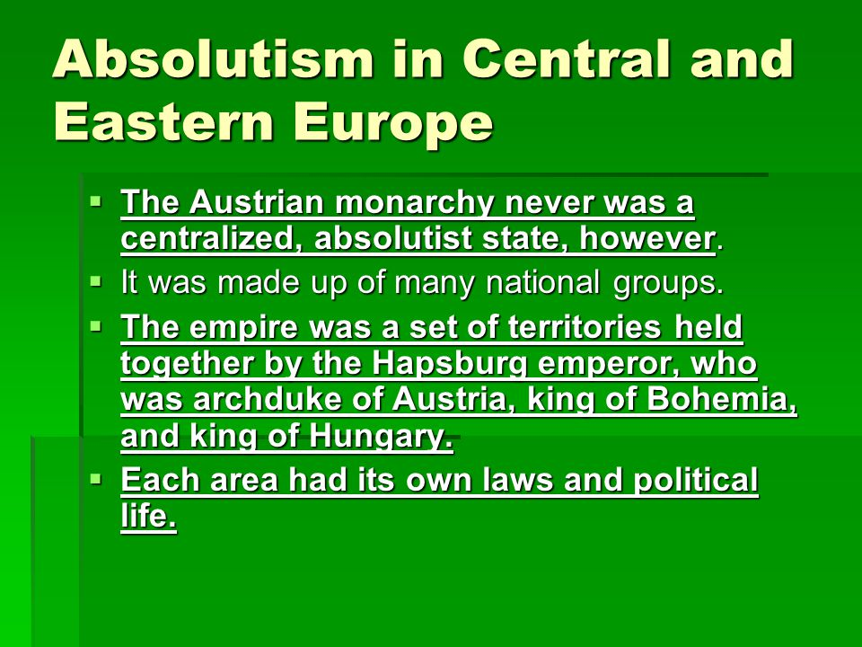 Absolutism in Central and Eastern Europe
