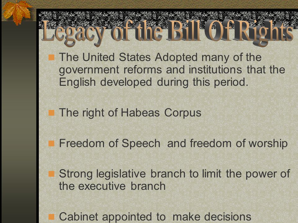 Legacy of the Bill Of Rights