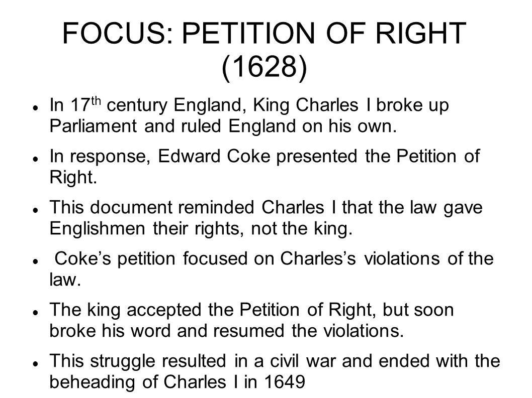 FOCUS: PETITION OF RIGHT (1628)