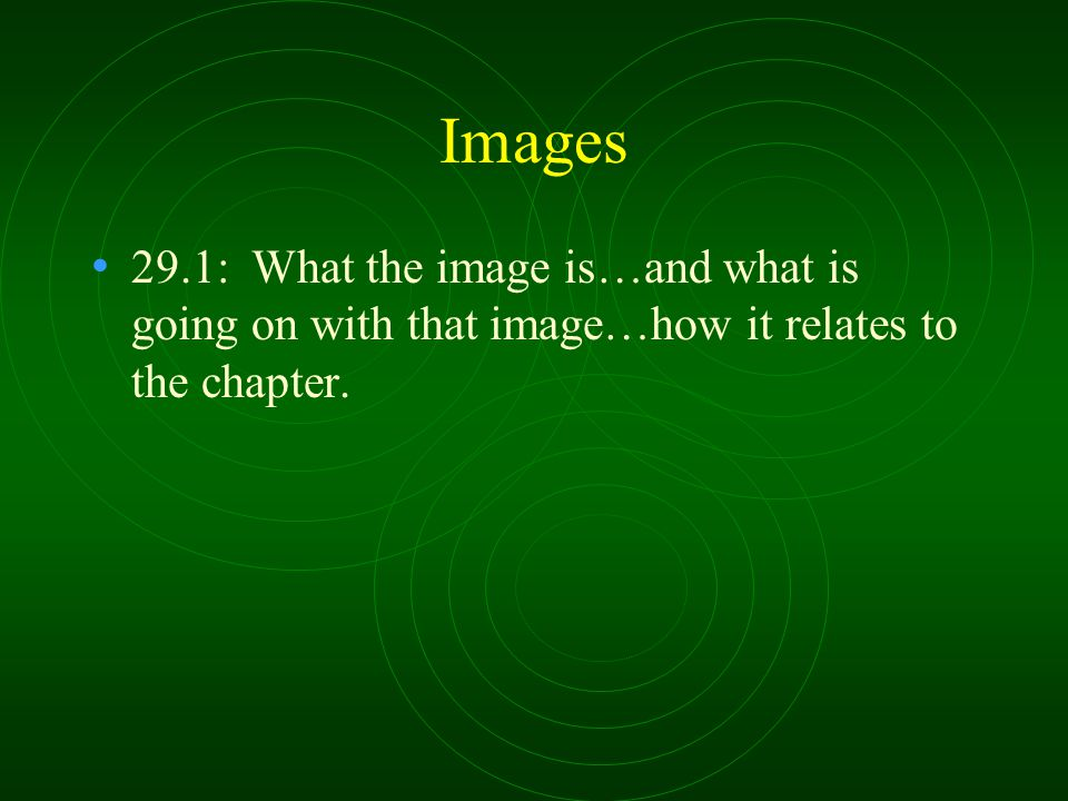 Images 29.1: What the image is…and what is going on with that image…how it relates to the chapter.