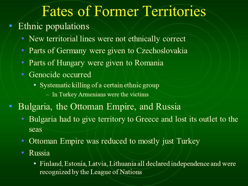 Fates of Former Territories