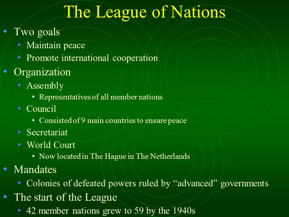 The League of Nations Two goals Organization Mandates