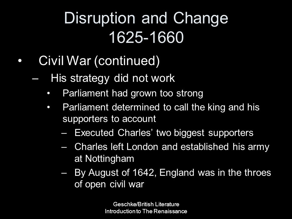 Disruption and Change 1625-1660