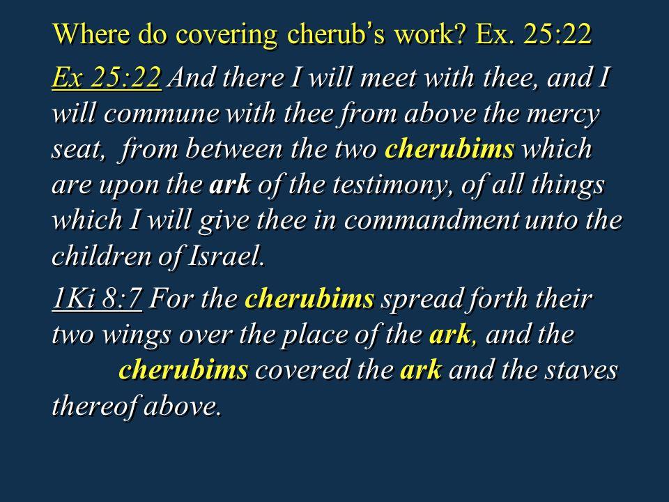 Where do covering cherub's work Ex. 25:22