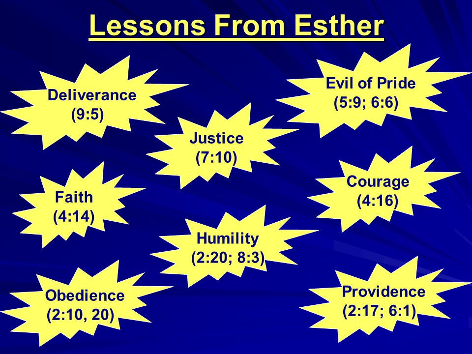 Lessons From Esther Evil of Pride (5:9; 6:6) Deliverance (9:5) Justice