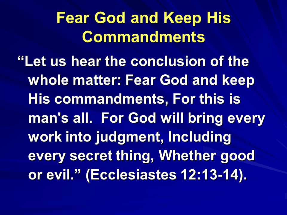 Fear God and Keep His Commandments