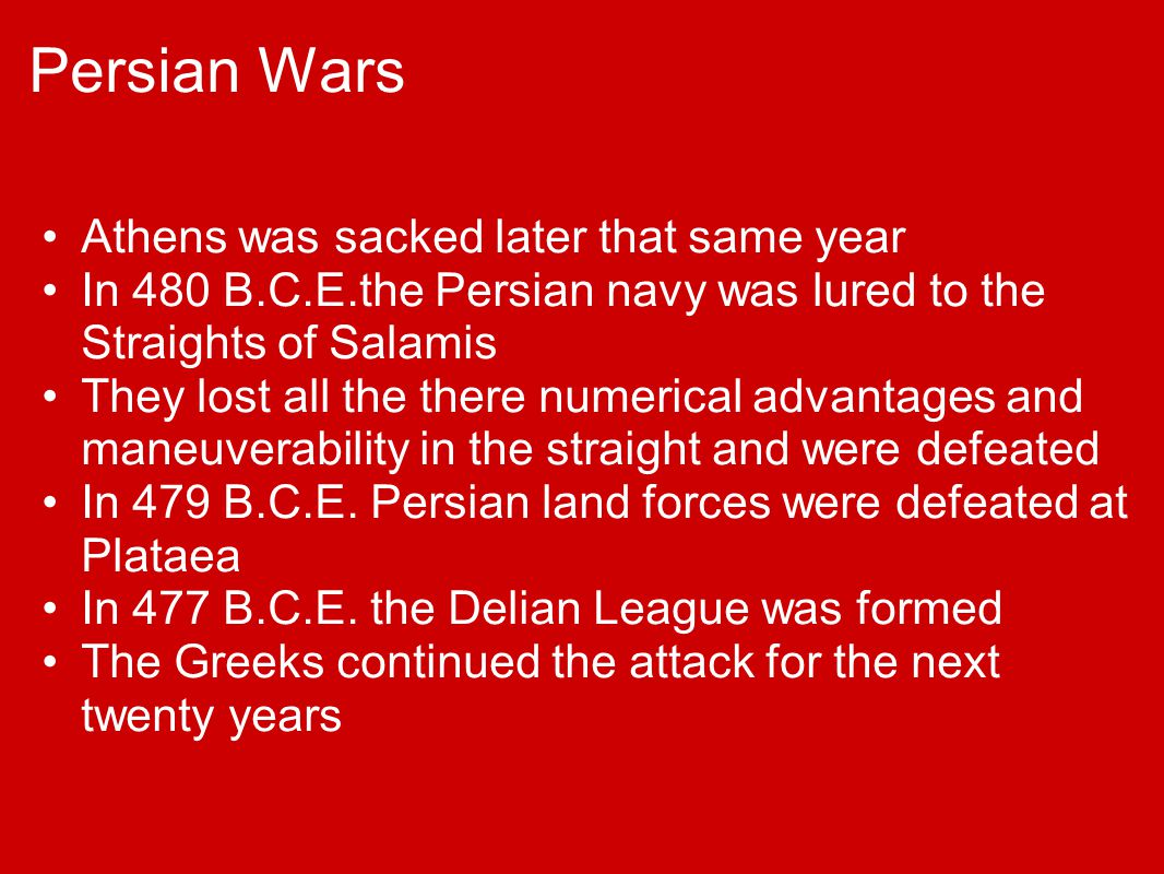 Persian Wars Athens was sacked later that same year