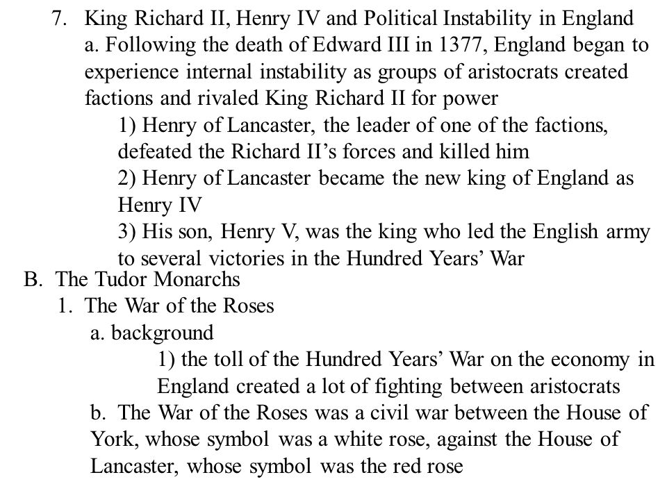 King Richard II, Henry IV and Political Instability in England