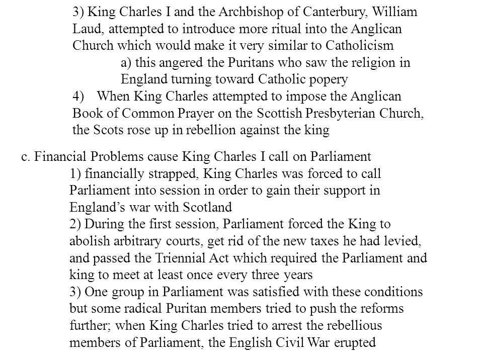 3) King Charles I and the Archbishop of Canterbury, William