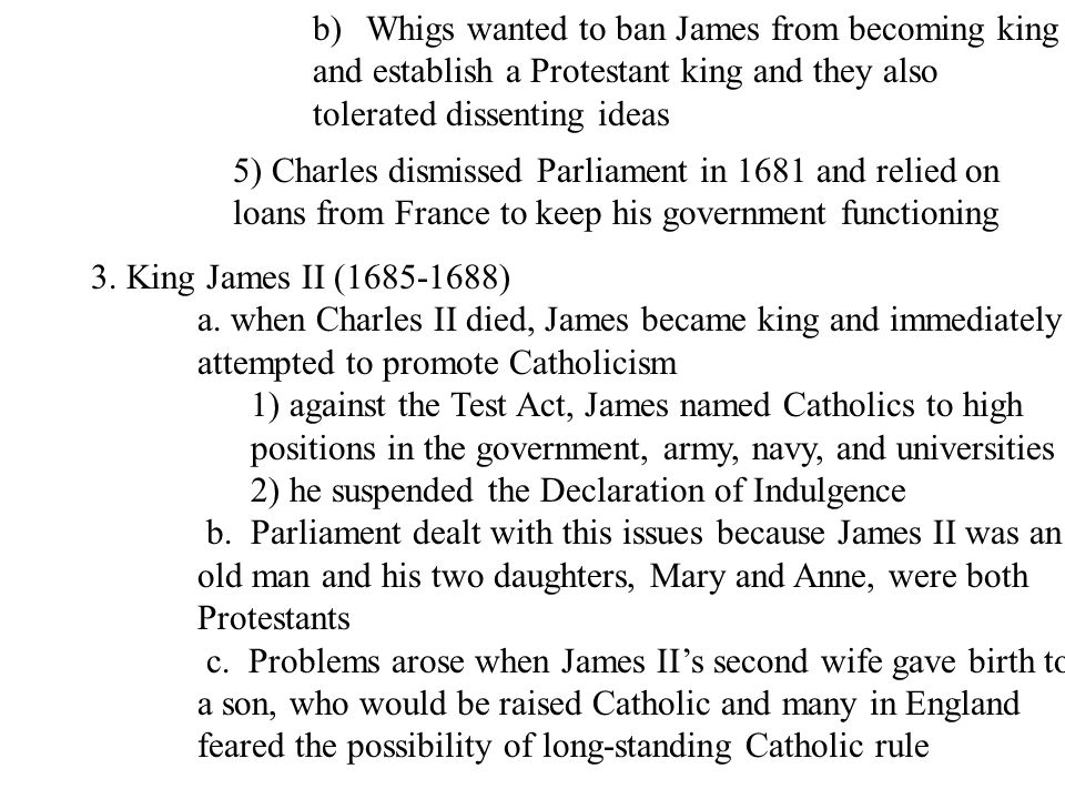 Whigs wanted to ban James from becoming king