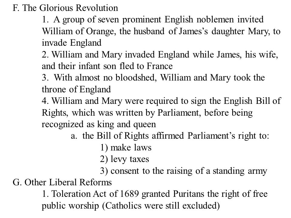 F. The Glorious Revolution