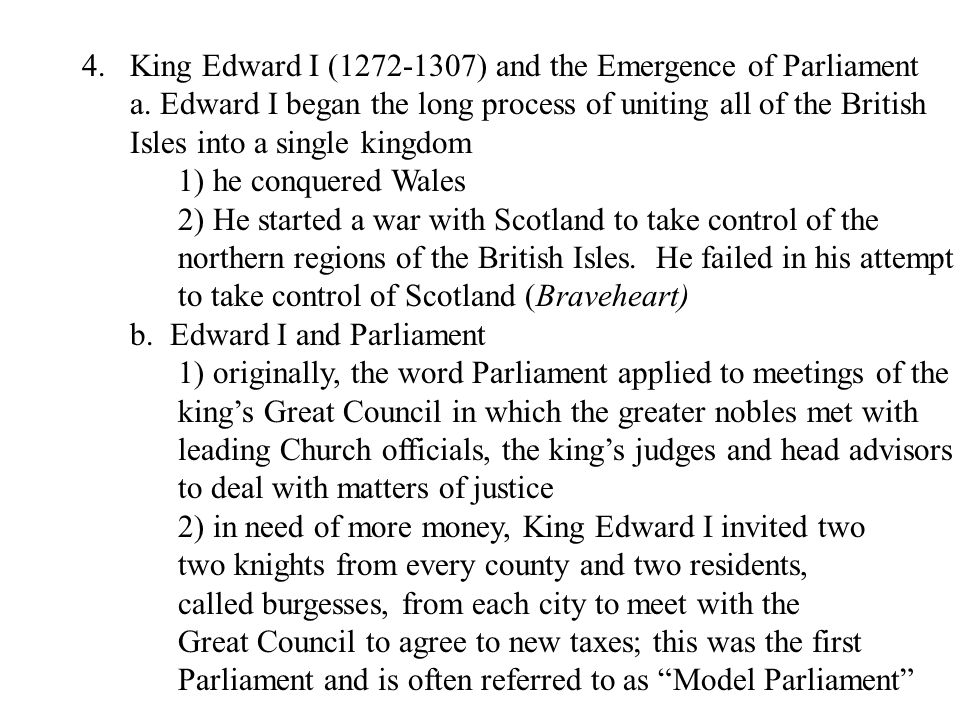 King Edward I (1272-1307) and the Emergence of Parliament