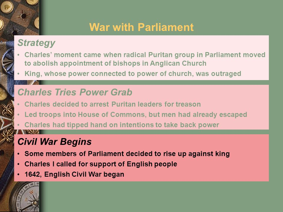 War with Parliament Strategy Charles Tries Power Grab Civil War Begins